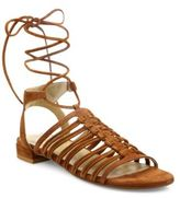 Stuart Weitzman Knotagain Suede Lace-Up Sandals