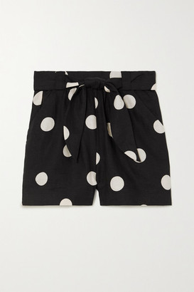 Peony Swimwear Net Sustain Macaroon Belted Polka-dot Linen Shorts - Black
