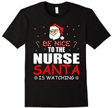 Women's Be Nice To The Nurse Santa Is Watching T-Shirt- Nurse Xmas Small