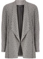 Dorothy Perkins Womens Monochrome Jacquard Waterfall Throw On Jacket- Black/White