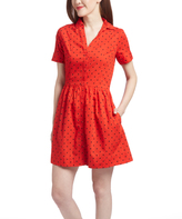 U.S. Polo Assn. Red Burst Polka Dot Fit & Flare Dress