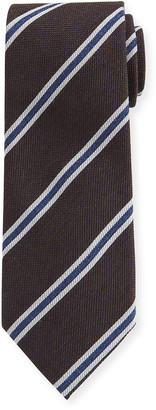 Ermenegildo Zegna Men's Framed-Stripe Tie, Brown