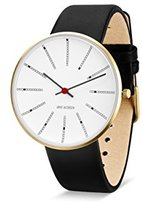 Arne Jacobsen Unisex Quartz Watch with White Dial Analogue Display and Black Leather Strap 53108