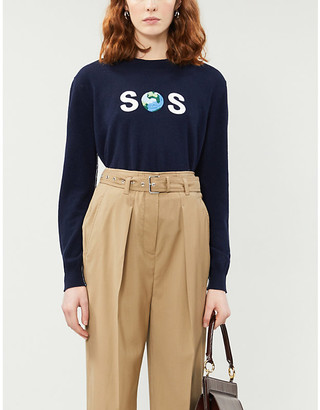 Stella McCartney Text-embroidered cashmere and wool-blend jumper