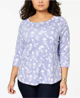 Charter Club Plus Size Cotton Printed 3/4-Sleeve T-Shirt, Created for Macy's