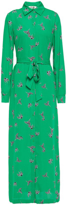 Diane von Furstenberg Printed Crepe Maxi Shirt Dress