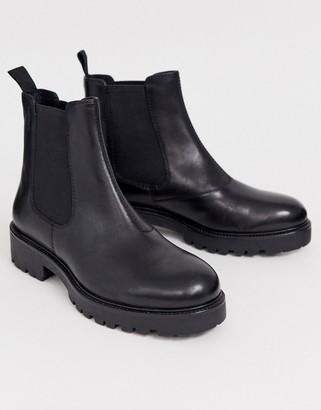 Vagabond Kenova black leather chunky flat ankle boots