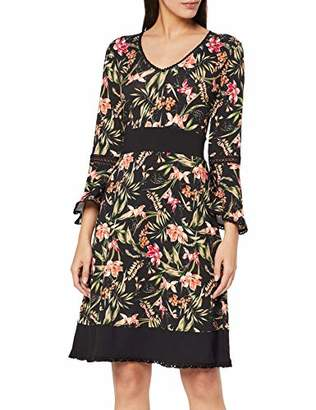 Joe Browns Womens Floral Print Jersey Dress with Lace Trim Black