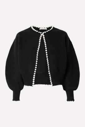 Alexander Wang Faux Pearl-embellished Distressed Wool-blend Cardigan - Black