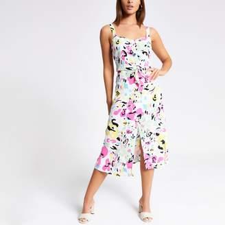 River Island Womens White print button midi skirt