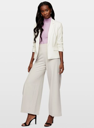 Miss Selfridge Ivory Ruched Sleeve Blazer