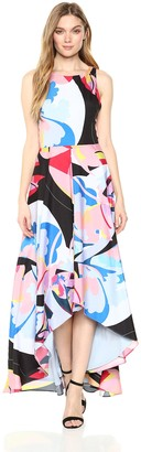 Nicole Miller Women's high-Low Maxi Dress with Back Cut Out