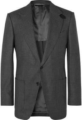 Tom Ford Grey Atticus Slim-fit Unstructured Houndstooth Wool Blazer - Gray