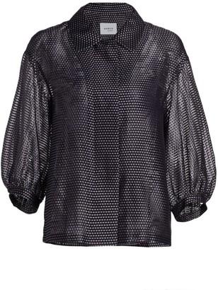 Akris Punto Pin Dot Organza Puff-Sleeve Jacket