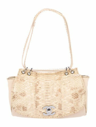 Chanel Python-Trimmed Flap Bag Beige