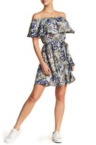 Lush Off-the-Shoulder Tie Waist Floral Dress