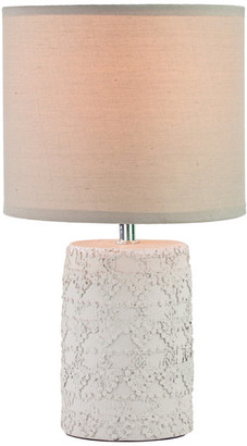 """Crystal Art Concrete Table Lamp with Grey Canvas Drum Shade (13.5"""")"""