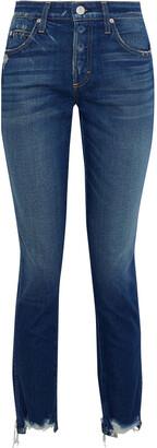 Amo Lover Distressed Mid-rise Slim-leg Jeans