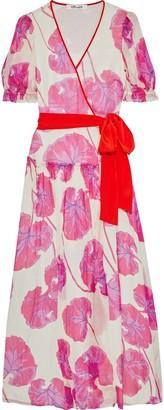 Diane von Furstenberg Breeze Printed Crinkled Silk-chiffon Maxi Wrap Dress