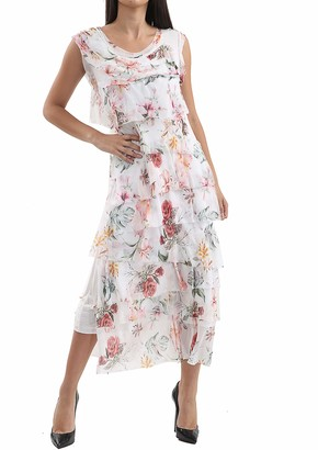 N A COLLECTION New Ladies Italian Lagenlook Flap Over Shredded Layer Look Floral Print Pleated Layer Dress (White One Size: Regular)