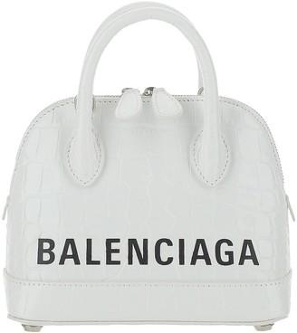 Balenciaga White Leather Ville Top XXS Bowler Bag