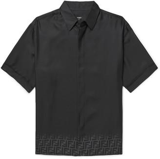Fendi Logo-Print Degrade Silk-Twill Shirt