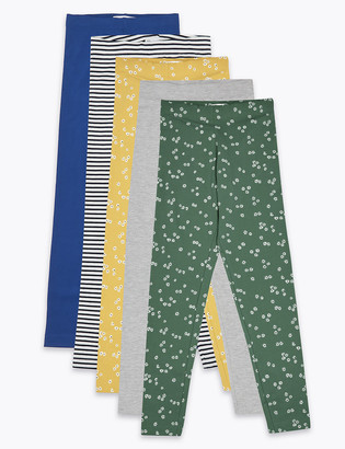 Marks and Spencer 5 Pack Cotton Leggings (6-16 Yrs)