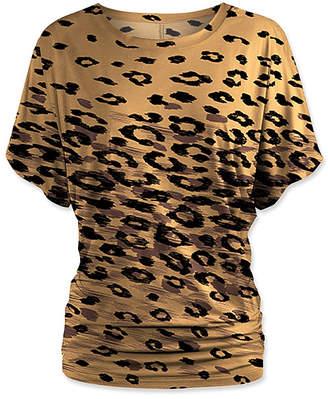 Udear UDEAR Women's Blouses Print - Brown Leopard Dolman Top - Women & Plus