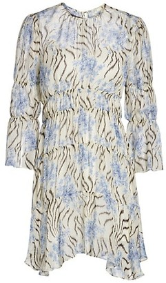 Cinq à Sept June Printed Ruffle Silk Dress