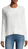Rag & Bone Elsie Flyaway-Back Crewneck Sweater, White