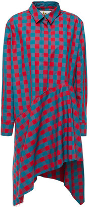 Marques Almeida Asymmetric Checked Cotton-jacquard Mini Dress