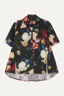 ADAM by Adam Lippes Floral-print Cotton-blend Poplin Blouse - Black