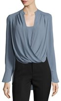 BCBGMAXAZRIA Jaklyn Drape-Front Blouse, Light Blue Haze