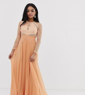 Asos DESIGN Petite long sleeve lace panelled pleat maxi dress-Multi