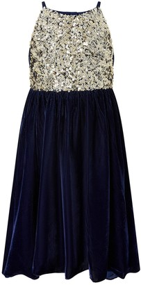 Monsoon Girls Velvet Truth Hi Low Dress - Navy