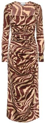 Ganni Zebra-print stretch-silk midi dress