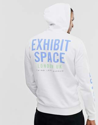 Asos Design DESIGN hoodie with back & arm exhibit space print-White