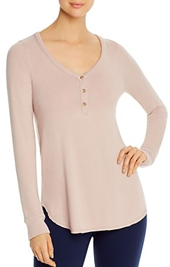 Three Dots Long-Sleeve Brushed Henley Top