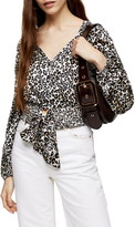 Topshop Animal Print Front Tie Blouse