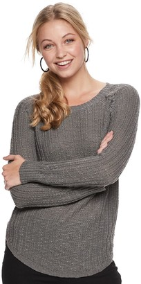 Juniors' Pink Republic Braided Pullover Sweater