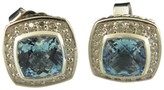 David Yurman 925 Sterling Silver With Blue Topaz And Diamonds Earrings