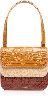 REJINA PYO Ana Color-Block Croc-Effect Leather Shoulder Bag
