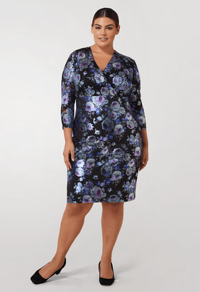 Marée Pour Toi Lace / Scuba Foil Midi Dress in Lilac Print Size 22