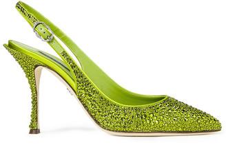 Dolce & Gabbana Crystal-embellished Satin Slingback Pumps