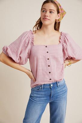 Hutch Azalea Puff-Sleeved Blouse By in Purple Size XS