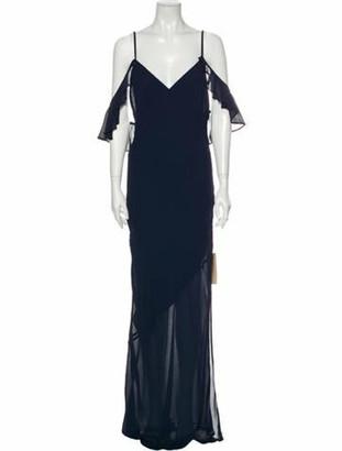 Reformation V-Neck Long Dress Blue