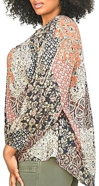 Daniel Rainn Plus Long Sleeve Printed Top