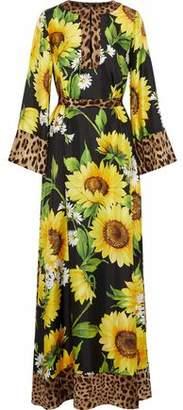 Dolce & Gabbana Belted Printed Silk-twill Maxi Dress