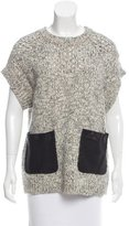 Thakoon Leather-Accented Open Knit Sweater
