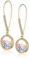 "Betsey Johnson Confetti"" Shaky Mixed Multi-Colored Stone Round Long Drop Earrings"